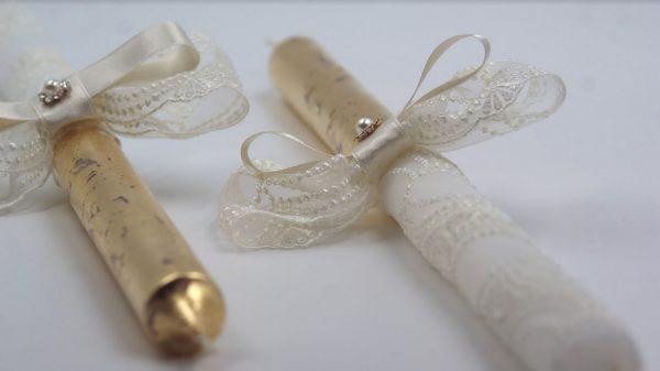 Позлатени сватбени свещи с дантела цвят Ivory - NCandles - Снимка 2