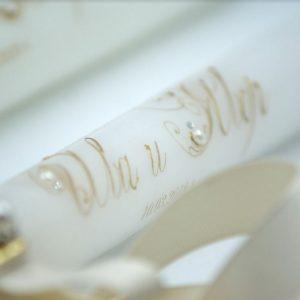 Свещи за сватба в злато, нежна дантела, перла и камъчета Swarovski