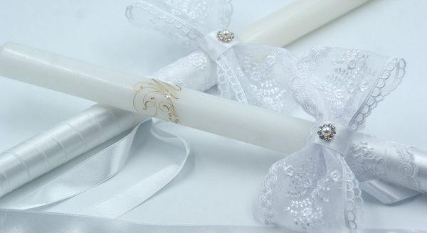Сватбени свещи с перла, нежна дантела и пищна панделка