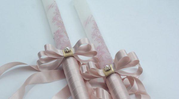 Сватбени свещи с инициали и дантела в Розов блъш - Снимка 2