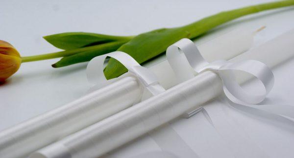 Класически сватбени свещи в бял цвят - NCancles