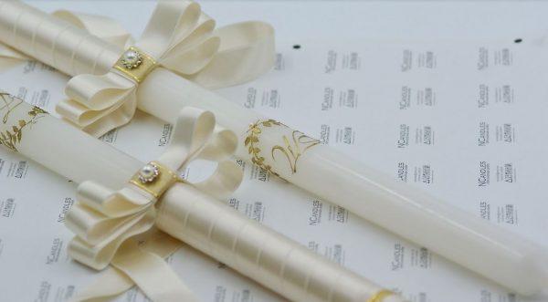 Сватбени свещи с лавров венец в златисто