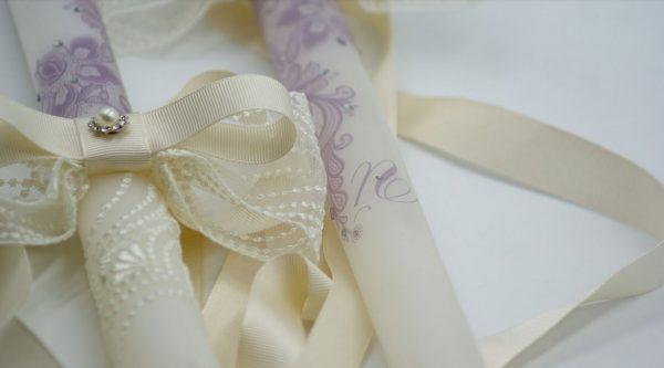 """Сватбени свещи """"Дантела"""" в лилаво и ivory"""