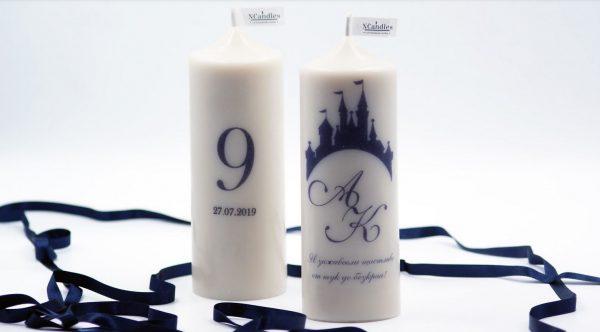Сватбени свещи с изписано пожелание и номер на маса