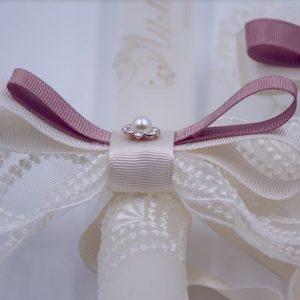 Сватбени свещи с украса в ретро стил