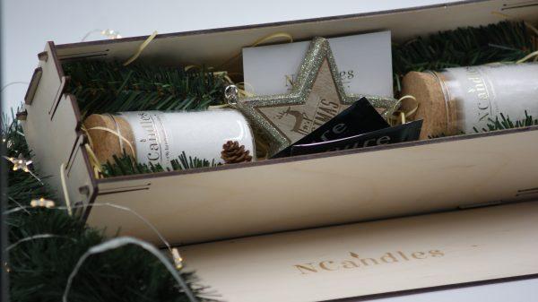 Ароматни свещи за подарък в дървена кутия - NCandles - Снимка 4