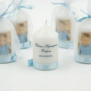 Свещ, подарък за кръщене със снимка в бебешко синьо за момче