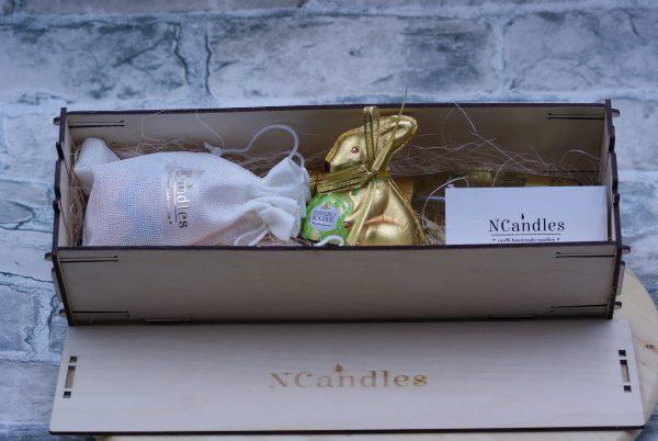 """Подаръчен комплект """"Великден"""": свещ, шампанско и зайче - Снимка 2"""