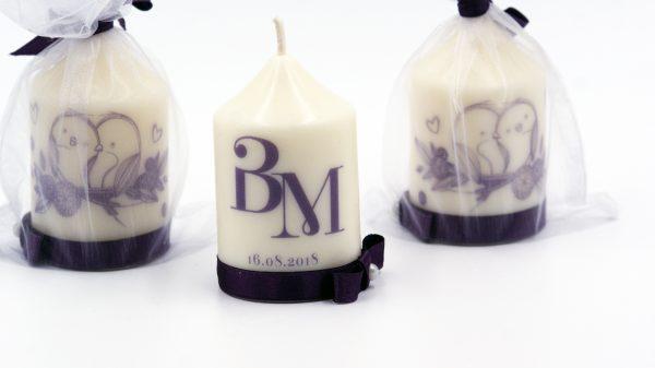 Сватбени свещи с инициали за гости - Подарък - NCandles - Снимка 4