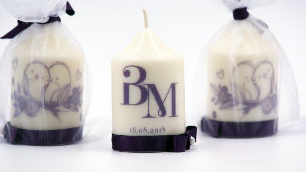 Сватбени свещи с инициали за гости - Подарък - NCandles - Снимка 3