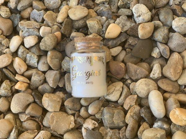 Свещ в бурканче със златни рози - Свещ подарък за гости - Снимка 4