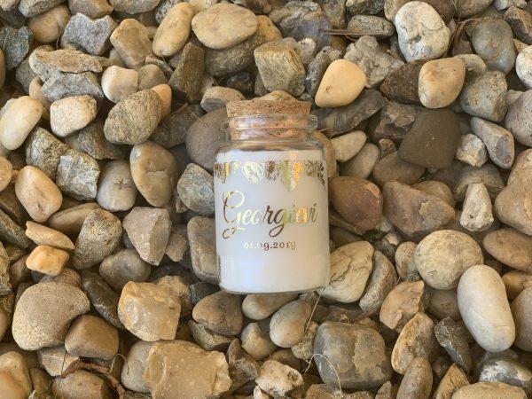 Свещ в бурканче със златни рози - Свещ подарък за гости - Снимка 7