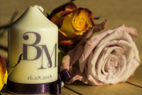 Сватбени свещи с инициали за гости - Подарък - NCandles - Снимка 2
