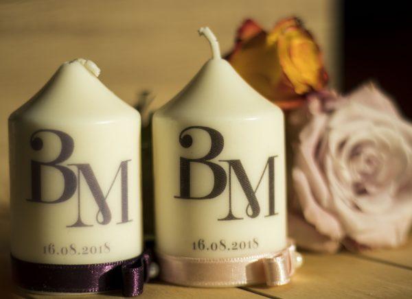 Сватбени свещи с инициали за гости - Подарък - NCandles