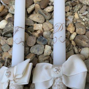Сватбени свещи с инициали в розово злато - Снимка 3