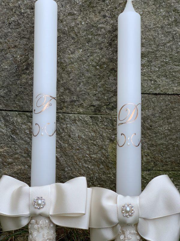 Сватбени свещи с инициали в розово злато - Снимка 1
