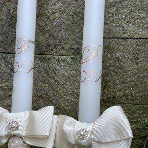 Сватбени свещи с инициали в розово злато - Снимка 6
