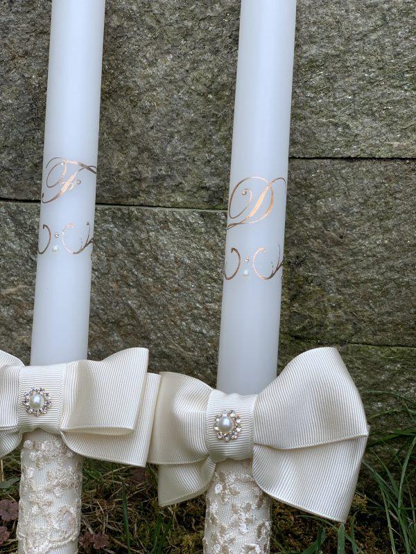 Сватбени свещи с инициали в розово злато - Снимка 4