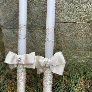 Сватбени свещи с инициали в розово злато - Снимка 5