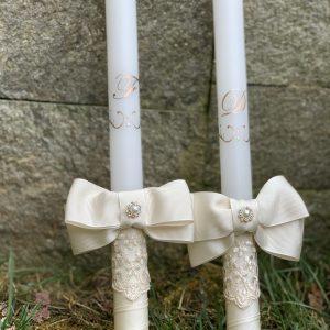 Сватбени свещи с инициали в розово злато - Снимка 2