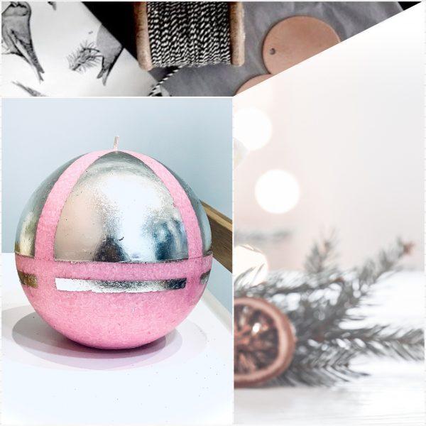 Коледна арт свещ в розово и сребристо. Тя е ръчна изработка от естествен восък и е подходяща за подарък на любим човек.
