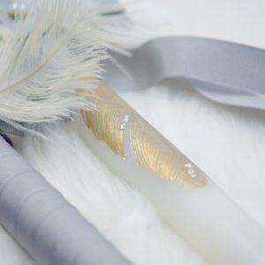 Тематични ритуални свещи Gatsby, декорирана със златни пера